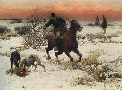 The Hunters Art Print by A Wierusz Kowalski