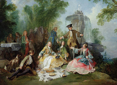 Table Cloth Photograph - The Hunting Party Meal, C. 1737 Oil On Canvas by Nicolas Lancret