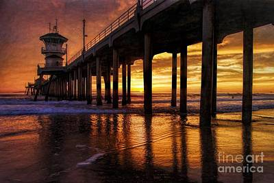 Photograph - The Huntington Beach Pier by Peggy Hughes