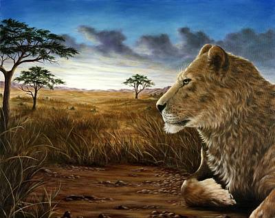 Lion Painting - The Huntress by Rick Bainbridge