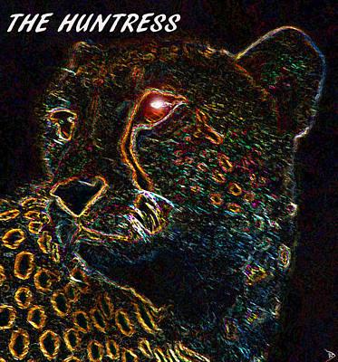Cheetah Digital Art - The Huntress Text Work A by David Lee Thompson