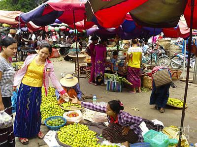 Photograph - The Hustling Market On 85th Street Zay Cho Street Market Mandalay Burma by Ralph A  Ledergerber-Photography