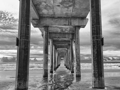 Black And White Photograph - The Iconic Scripps Pier by Larry Marshall