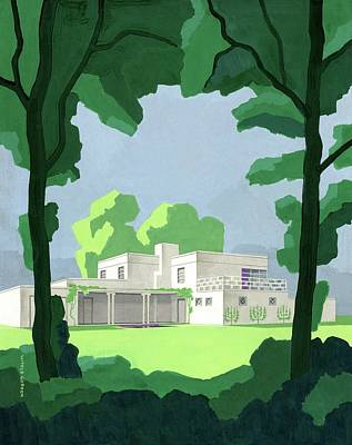 House Digital Art - The Ideal House In House And Gardens by Witold Gordon