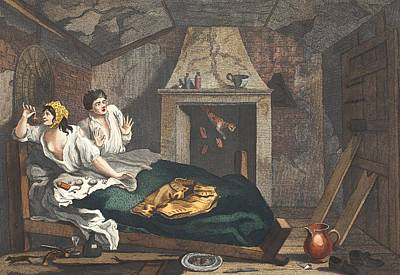 Shock Drawing - The Idle Prentice Returned From Sea by William Hogarth