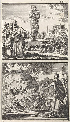 The Idol Of Nebuchadnezzar, Three Young Men In The Fiery Art Print by Jan Luyken And Barent Visscher And Andries Van Damme