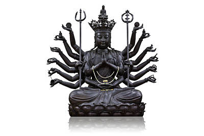 The Images Of Guanyin Black Art Print