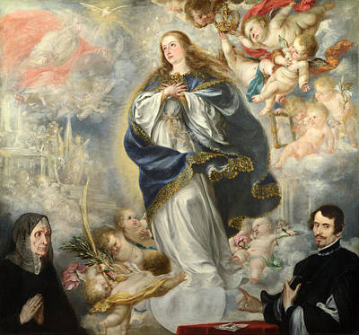 Religious Artist Painting - The Immaculate Conception With Two Donors by Juan de Valdes Leal