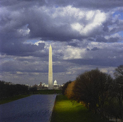 Washington Monument Digital Art - The Impending Storm by Carl Cox