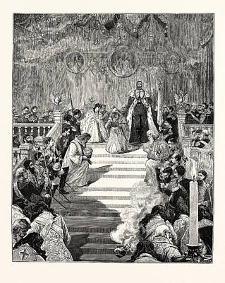 Moscow Drawing - The Imperial Coronation At Moscow Prayer For The Emperor by English School