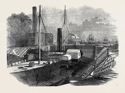 Dock Drawing - The Imperial Dock Rio De Janeiro Showing The Entrance by English School