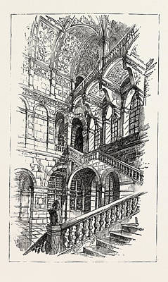 The Imperial Institute, London, West Staircase To First Art Print by English School