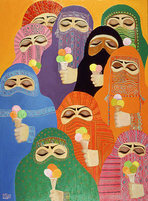 Cornet Photograph - The Impossible Dream, 1988 Acrylic On Board by Laila Shawa