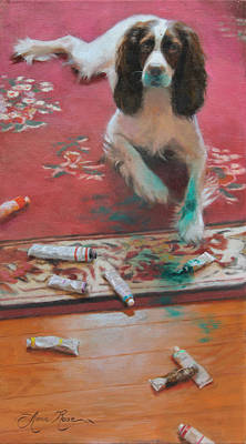Puppies Painting - The Incident by Anna Rose Bain