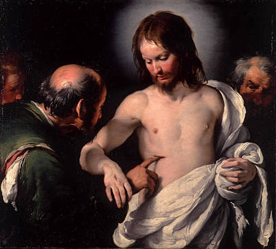 Incredulity Painting - The Incredulity Of Saint Thomas by Bernardo Strozzi
