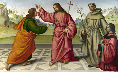 Incredulity Painting - The Incredulity Of Saint Thomas by Giovanni Battista da Faenza