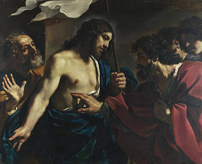 Guercino Painting - The Incredulity Of Saint Thomas by Guercino