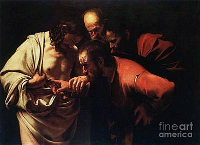 Caravaggio Painting - The Incredulity Of Saint Thomas by Pg Reproductions