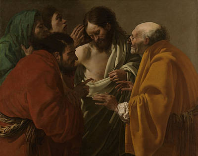 Incredulity Painting - The Incredulity Of Thomas, Hendrick Ter Brugghen by Quint Lox