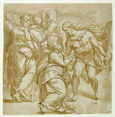 Incredulity Drawing - The Incredulity Of Thomas Recto,  Study For The Figure by Litz Collection