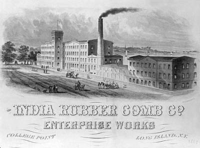 1861 Photograph - The India Rubber Comb  Factory by Underwood Archives