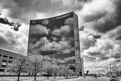 Photograph - The Indianapolis Jw Marriott Black And White 2 by David Haskett