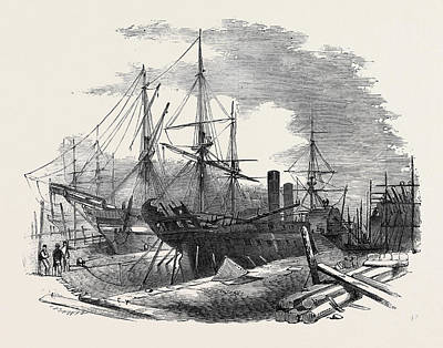 Dock Drawing - The Indus Steamship Partly Destroyed By Fire by English School