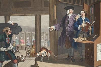 Satire Wall Art - Drawing - The Industrious Prentice A Favourite by William Hogarth