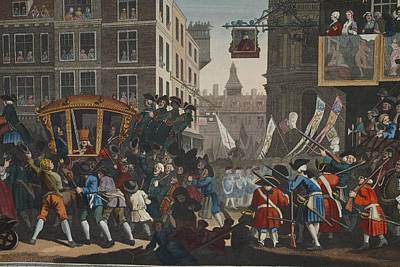 Crowd Scene Drawing - The Industrious Prentice Lord Mayor by William Hogarth