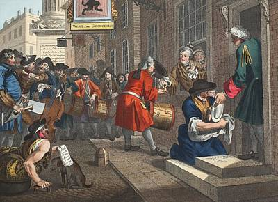 Satire Drawing - The Industrious Prentice by William Hogarth