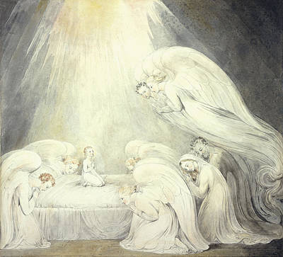 Baby Angel Drawing - The Infant Jesus Saying His Prayers by William Blake