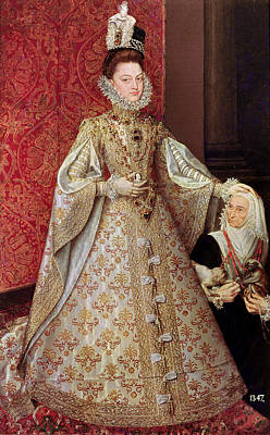 Aristocracy Photograph - The Infanta Isabel Clara Eugenia 1566-1633 With The Dwarf, Magdalena Ruiz, C.1580 Oil On Canvas by Alonso Sanchez Coello
