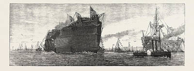 The Inflexible  Being Towed To Her Moorings Art Print by English School
