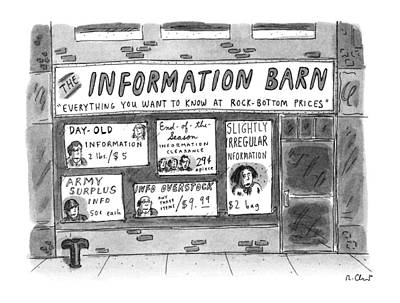 Window Signs Drawing - The Information Barn  Everything You Wanted by Roz Chast