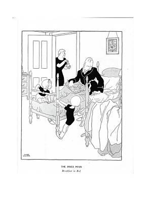 Breakfast Drawing - The Inner Man  Breakfast In Bed by Gluyas Williams