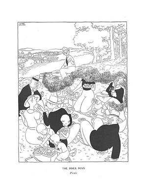 Inner Drawing - The Inner Man  Picnic by Gluyas Williams