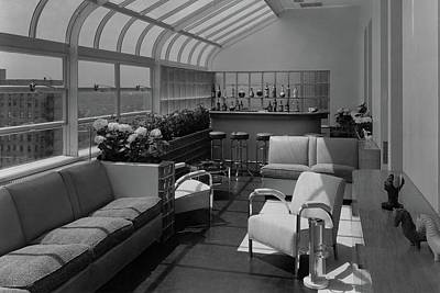 The Interior Of A Rooftop Terrace Art Print by  Hedrich-Blessing