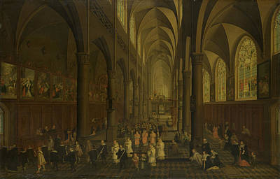 Dominican Drawing - The Interior Of The Dominican Church In Antwerp Belgium by Litz Collection