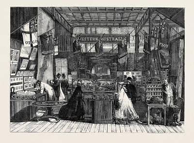 New Zealand Drawing - The International Exhibition The New Zealand Court 1862 by New Zealand School