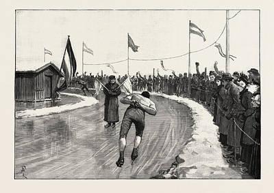 The International Skating Meeting Near Groningen Art Print by Dutch School