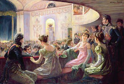 Silk Painting - The Interval At The Theatre  by Charles Henry Tenre
