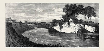 Drained Drawing - The Inundations In The Fens The Blown Sluice by English School