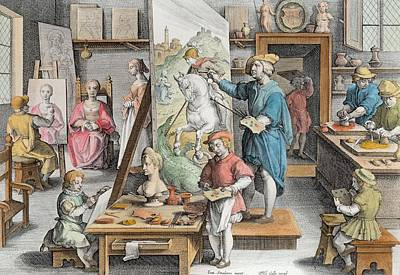 Oyster Shell Drawing - The Invention Of Oil Paint, Plate 15 by Jan van der Straet