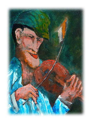 Tin Whistle Painting - The Irish Fiddle Flag by Val Byrne