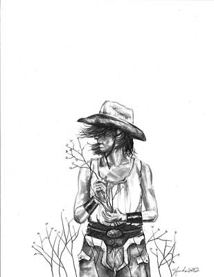 Cowboy Hat Drawing - The Iron Cowgirl by J Ferwerda