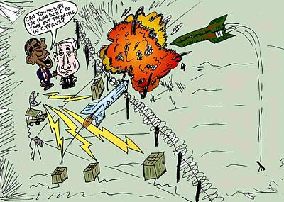 Editorial Cartoon Mixed Media - The Iron Dome And Cyprus by OptionsClick BlogArt
