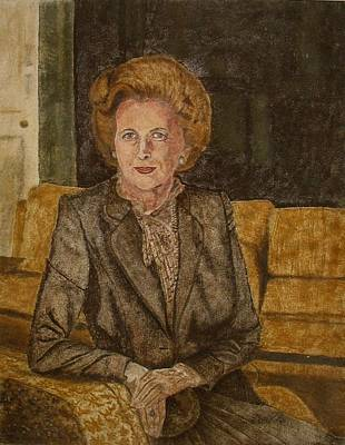 Painter Mixed Media - Portrait Of 'the Iron Lady' Using Natural Coloured Sands And Magnetised Iron Filings by Environmental Sandpainter and Sand Artist Brian Pike