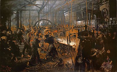 Cyclops Photograph - The Iron-rolling Mill Oil On Canvas, 1875 by Adolph Friedrich Erdmann von Menzel
