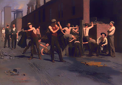 Bare-chested Painting - The Iron Workers Noontime  by Mountain Dreams