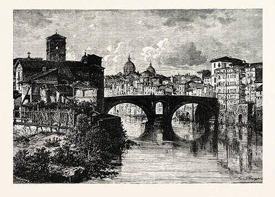 Tiber Island Wall Art - Drawing - The Island In The Tiber And Bridge Of Quattro Capt by Italian School